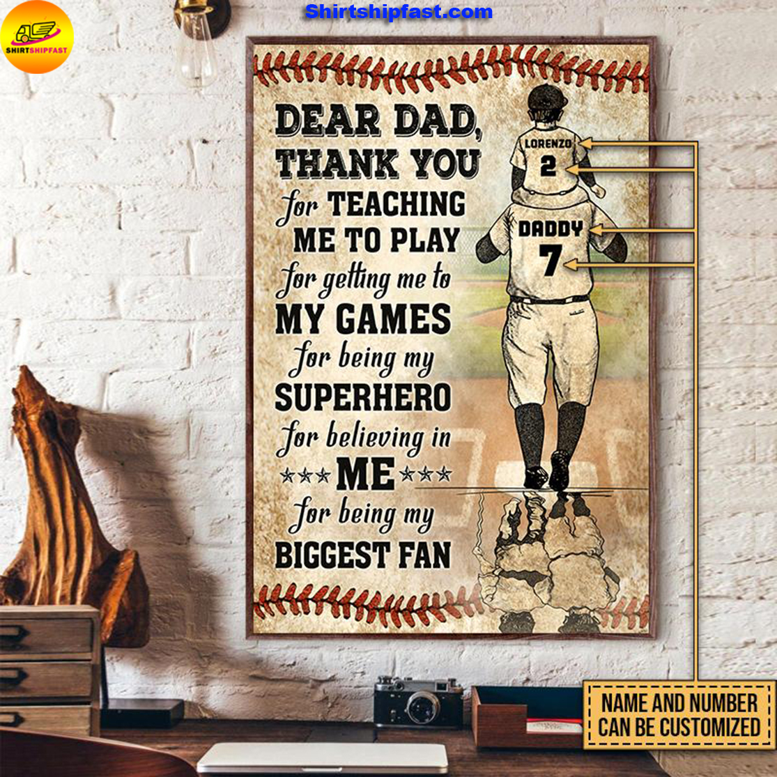 Personalized baseball dad and son thank you customized poster - Picture 3