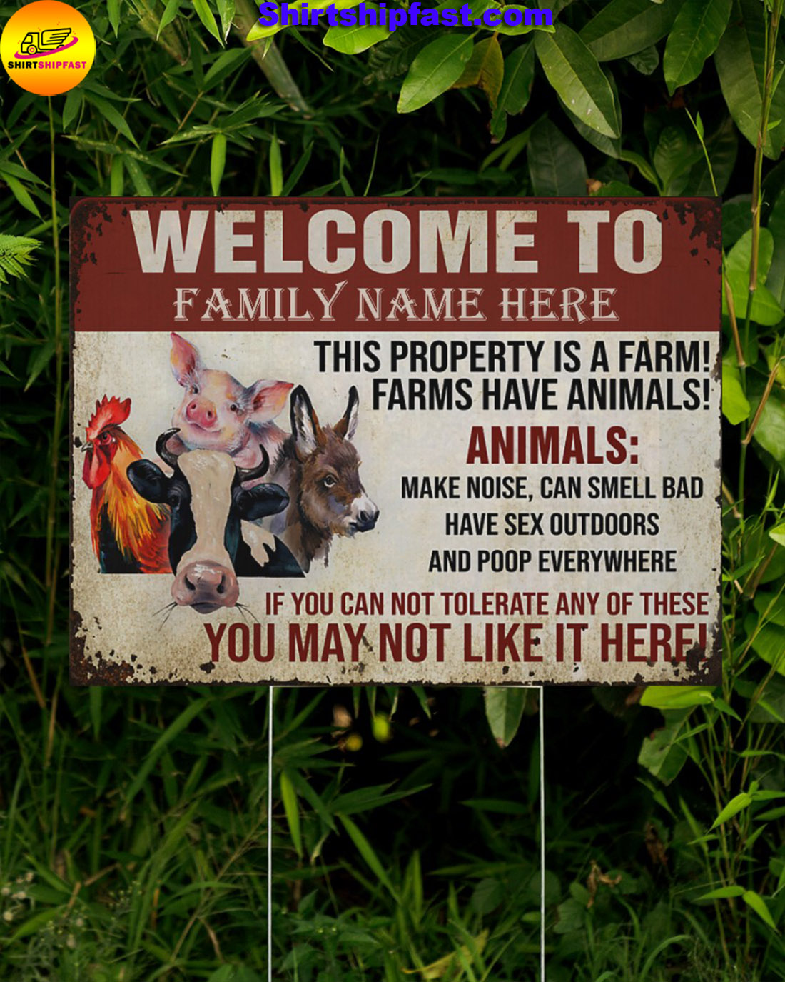 Personalized custom family name Animals This property is a farm yard signs - Picture 1