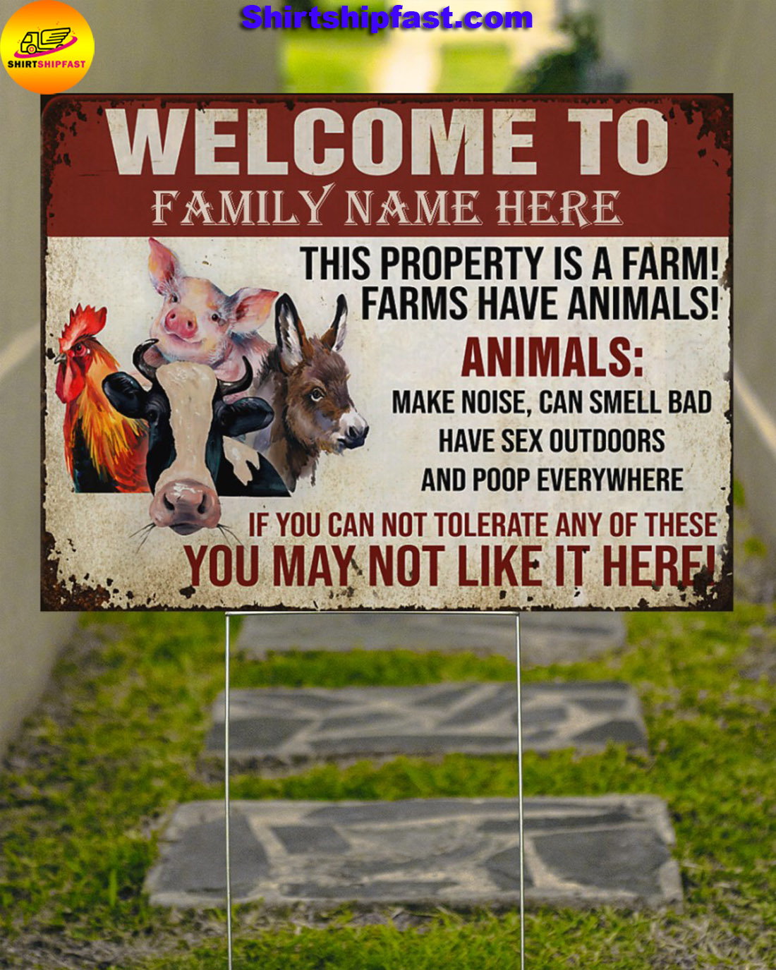 Personalized custom family name Animals This property is a farm yard signs - Picture 2