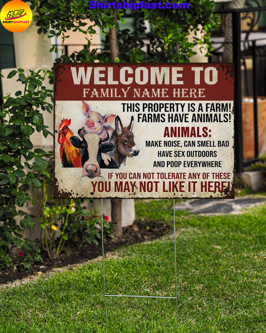 Personalized custom family name Animals This property is a farm yard signs - Picture 3