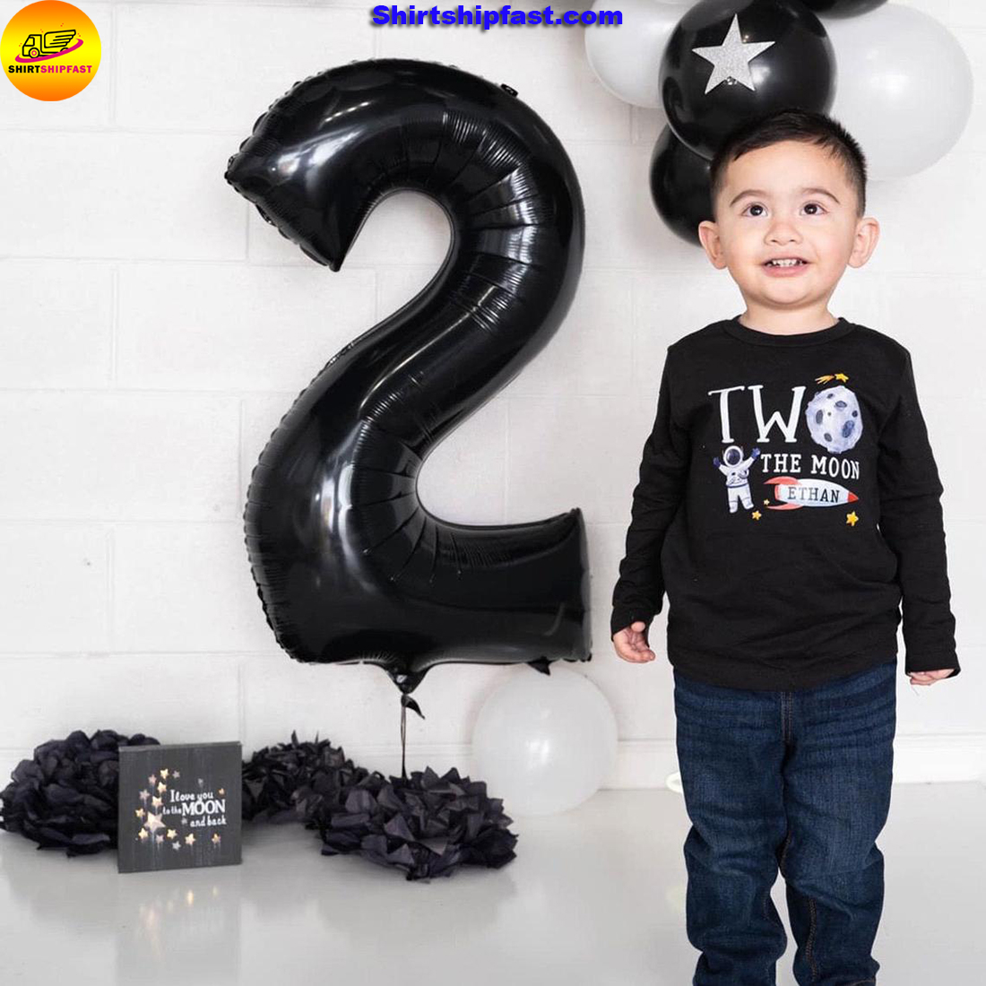 Personalized custom name Two the moon 2nd birthday shirt boys - Picture 2