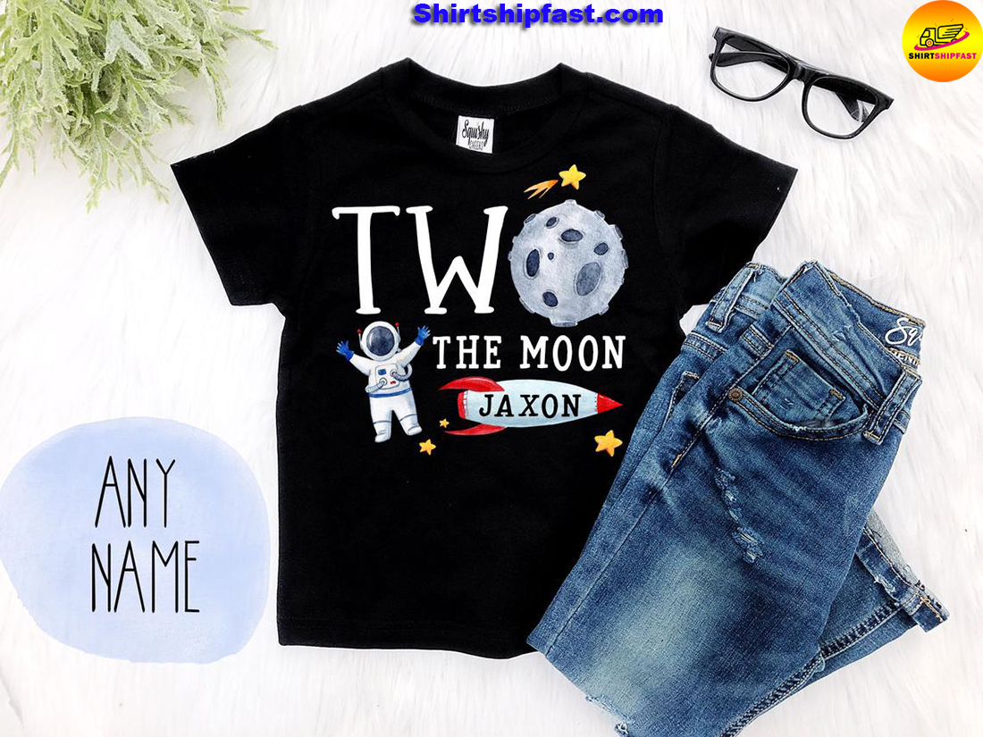 Personalized custom name Two the moon 2nd birthday shirt boys