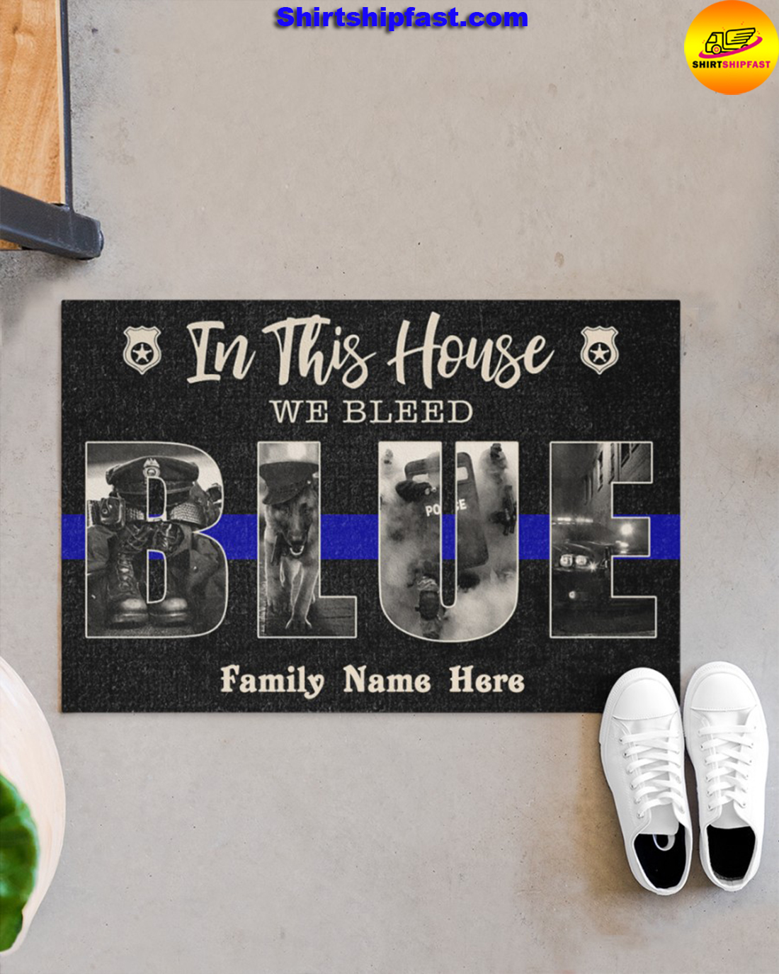 Police In this house we bleed blue custom name doormat - Picture 1