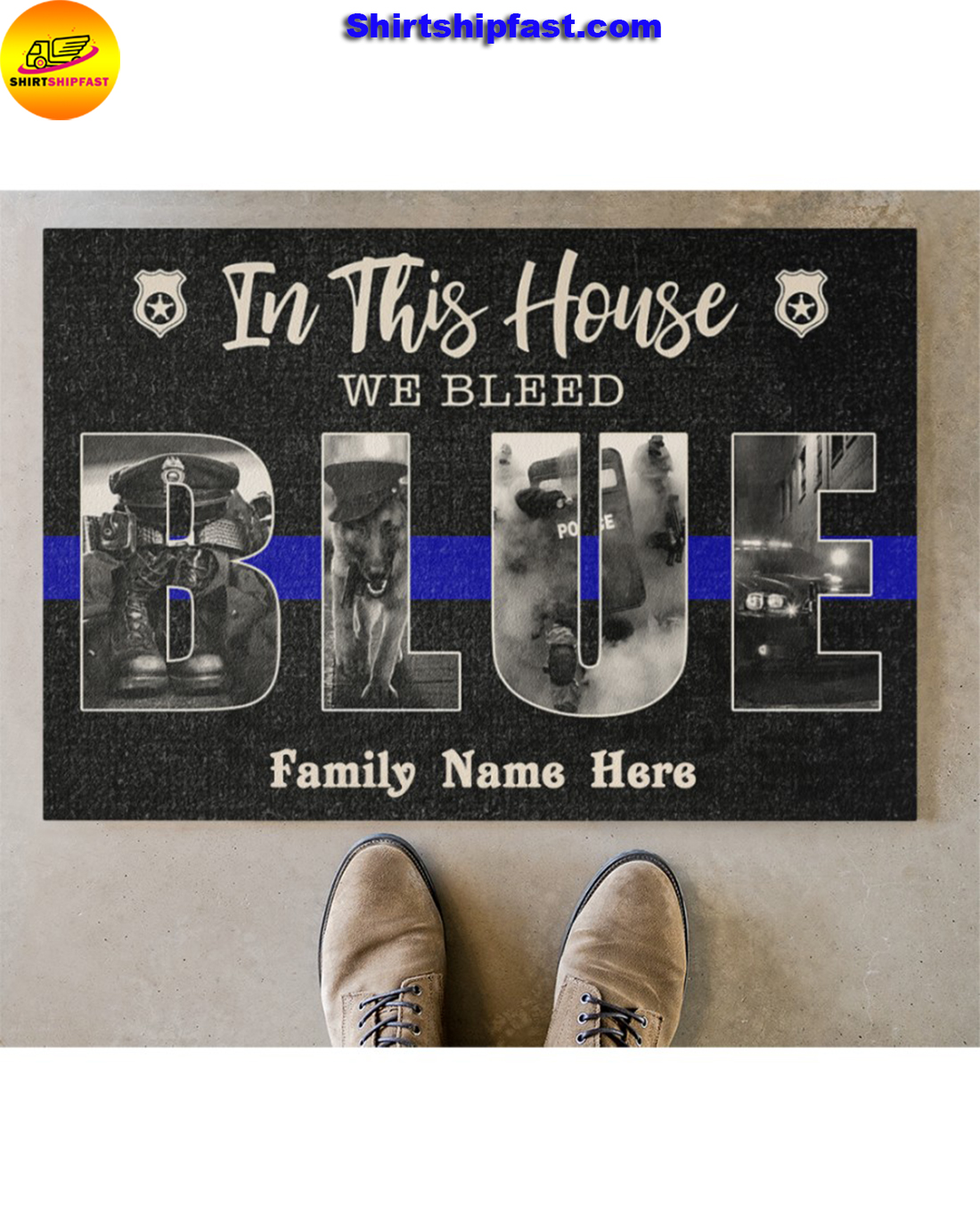 Police In this house we bleed blue custom name doormat - Picture 2