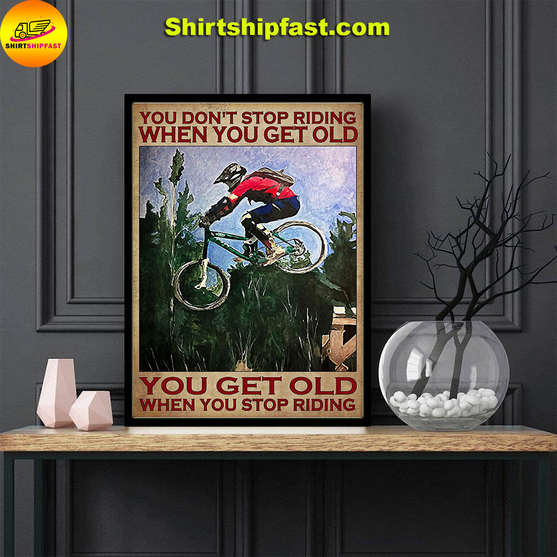 Poster Mountain biking you don't stop riding when you get old