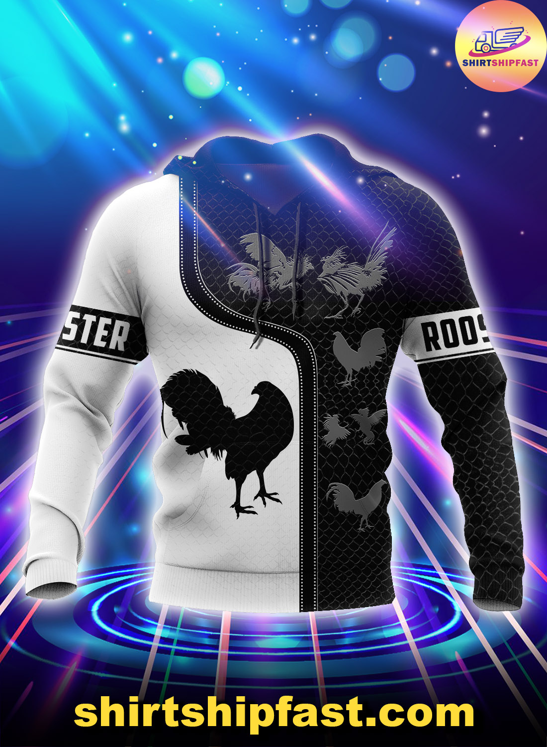 Rooster 3d all over print hoodie