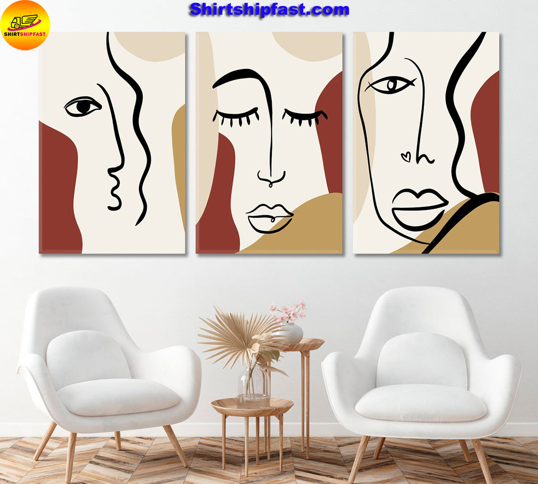 Set of 3 woman's face cubism art canvas wall decor - Picture 1