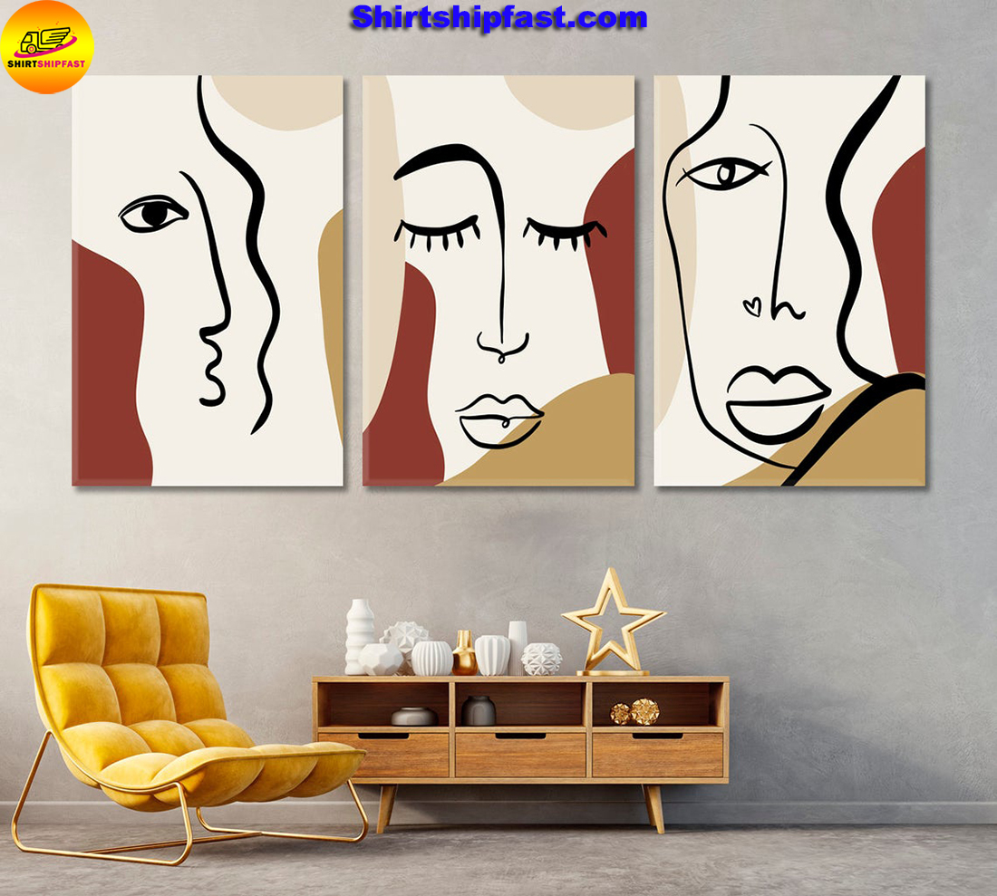 Set of 3 woman's face cubism art canvas wall decor - Picture 2