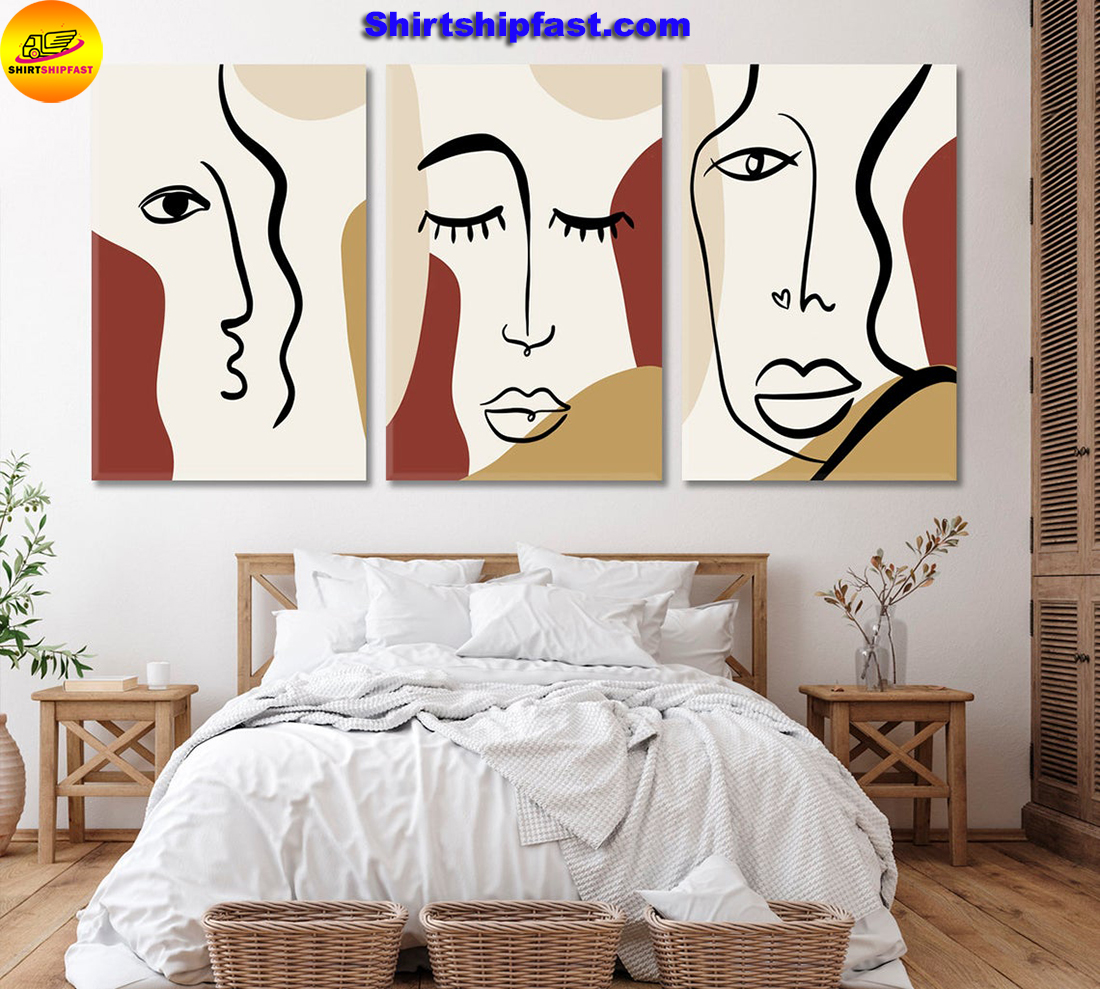 Set of 3 woman's face cubism art canvas wall decor - Picture 3