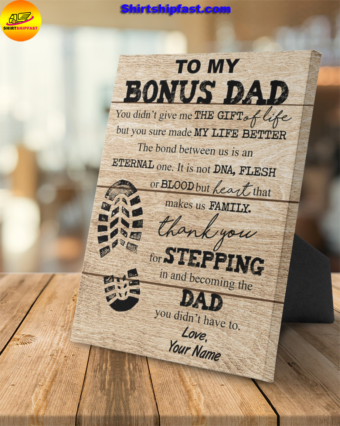 Shoe Prints To my bonus dad you sure made my life better custom name canvas - Picture 1