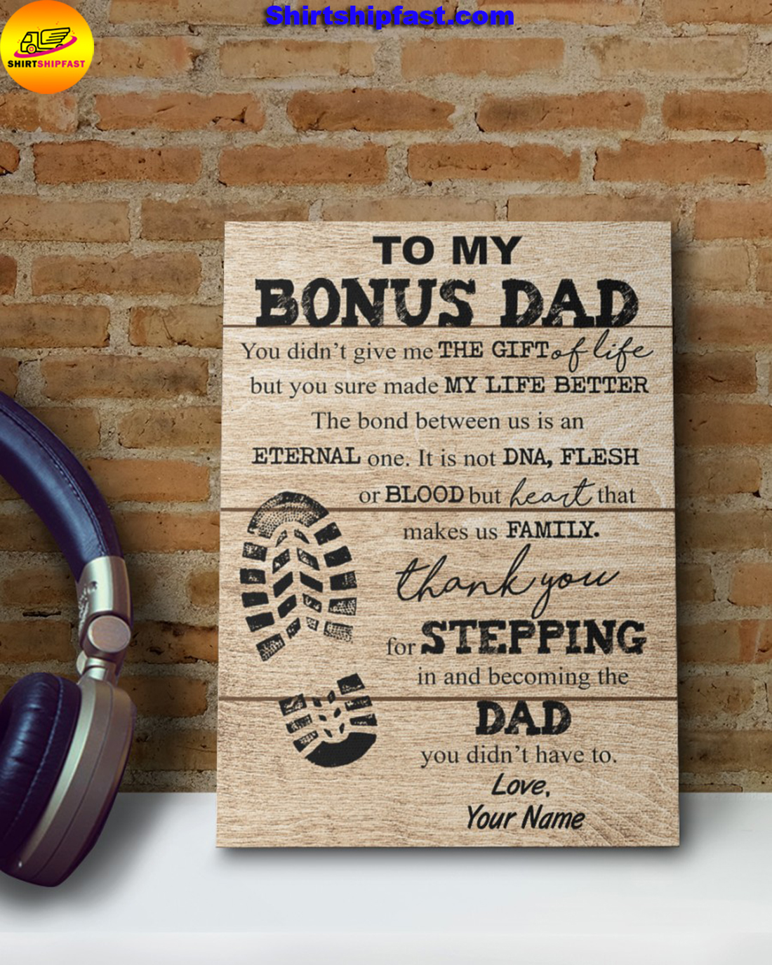 Shoe Prints To my bonus dad you sure made my life better custom name canvas - Picture 3