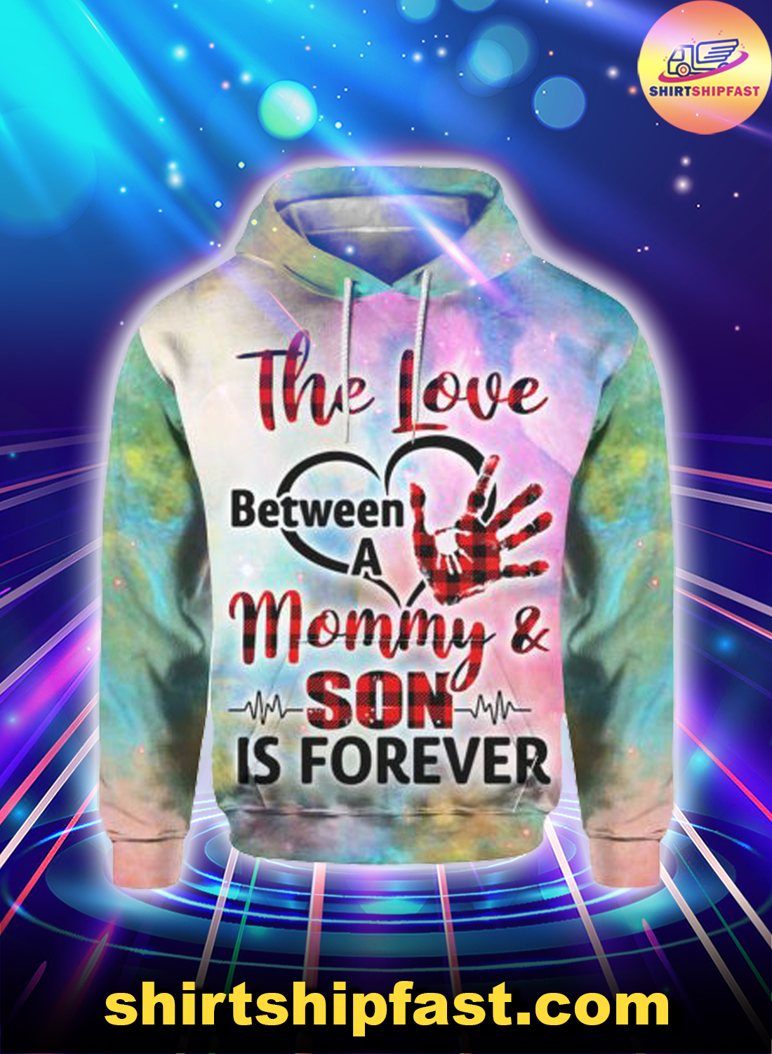 The love between a mommy and son is forever heartbeat 3d hoodie