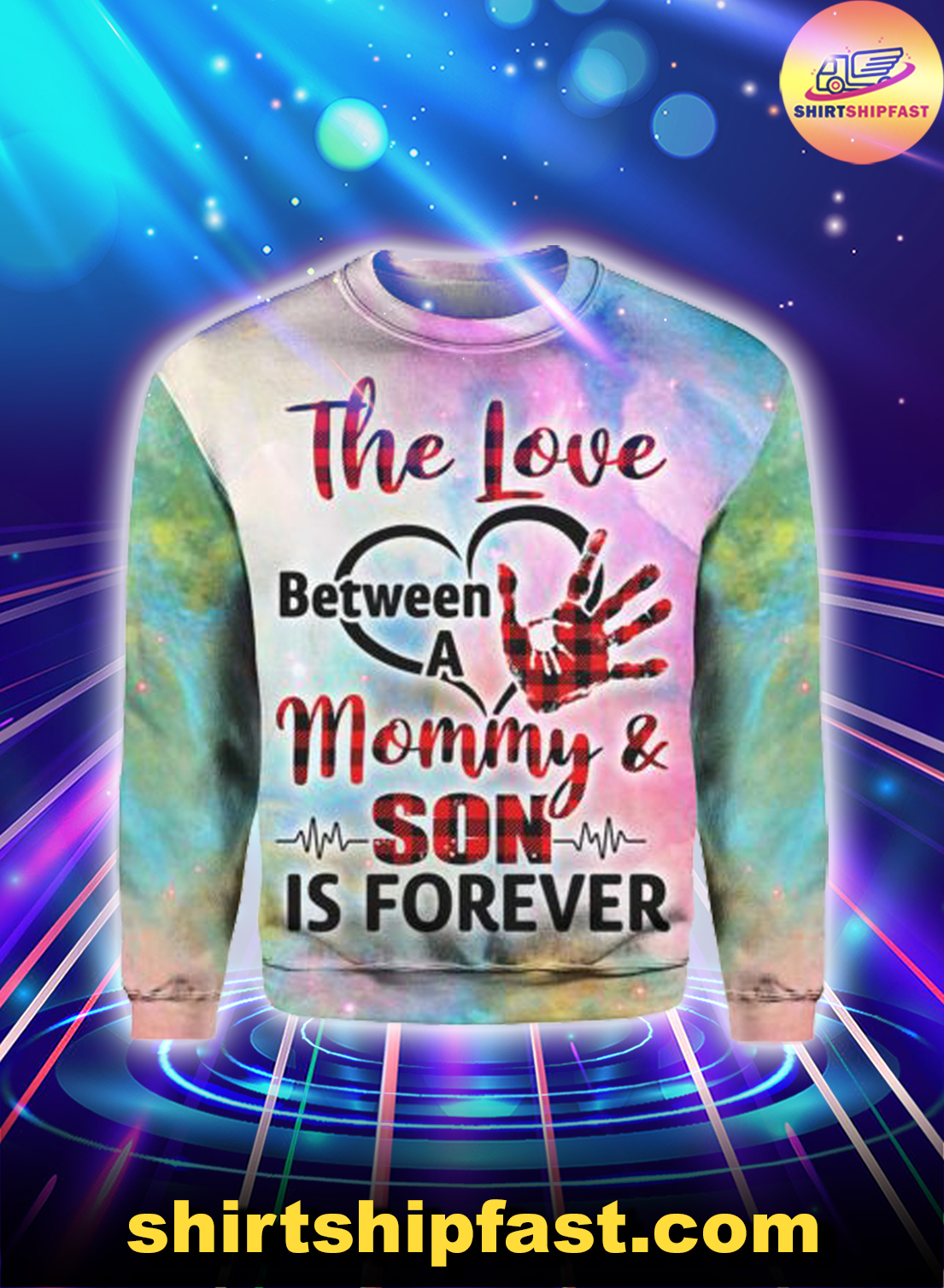 The love between a mommy and son is forever heartbeat 3d sweatshirt