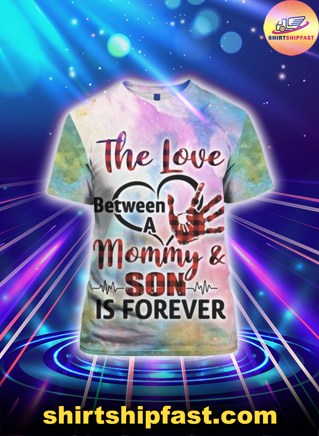 The love between a mommy and son is forever heartbeat 3d t-shirt