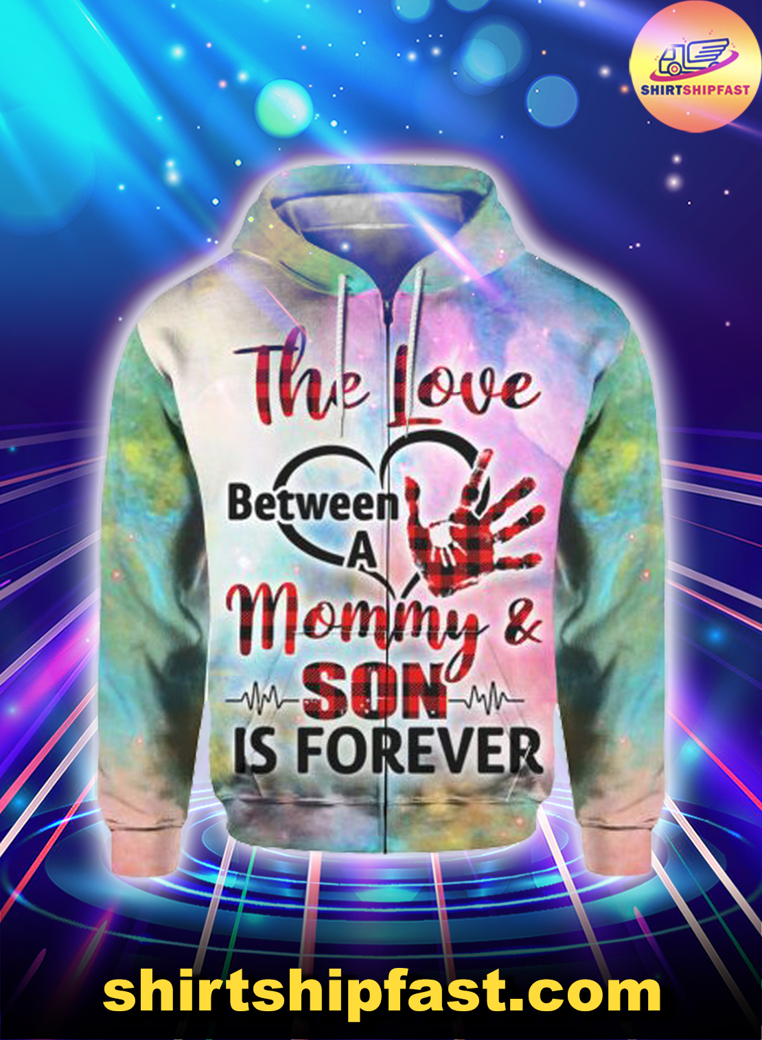 The love between a mommy and son is forever heartbeat 3d zip hoodie