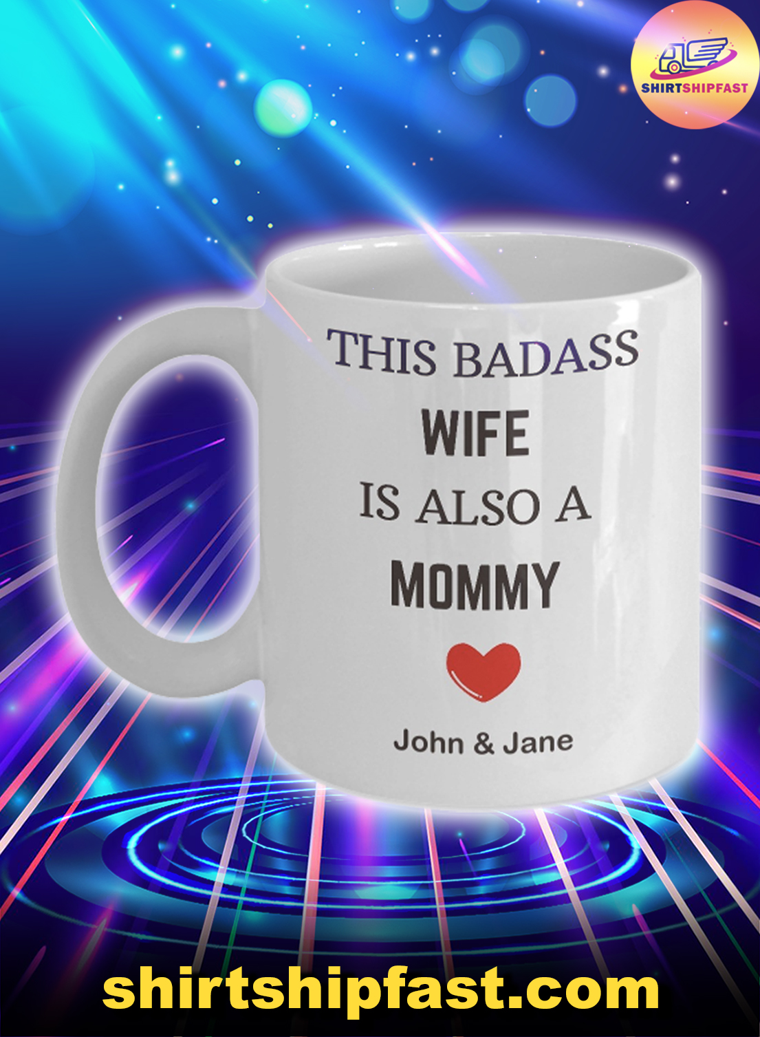 This badass wife is also a mom personalized custom name mug - Picture 1