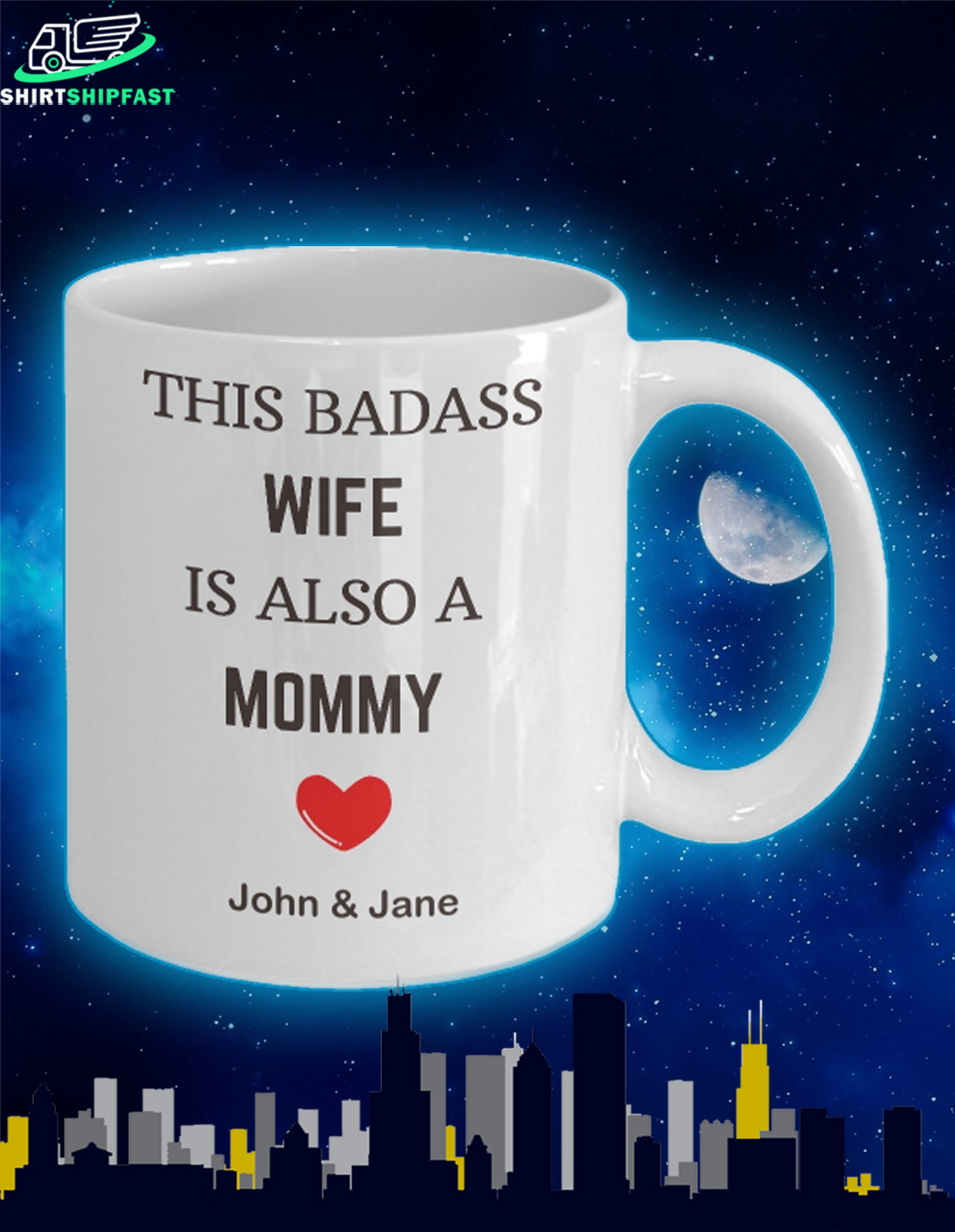 This badass wife is also a mom personalized custom name mug - Picture 2