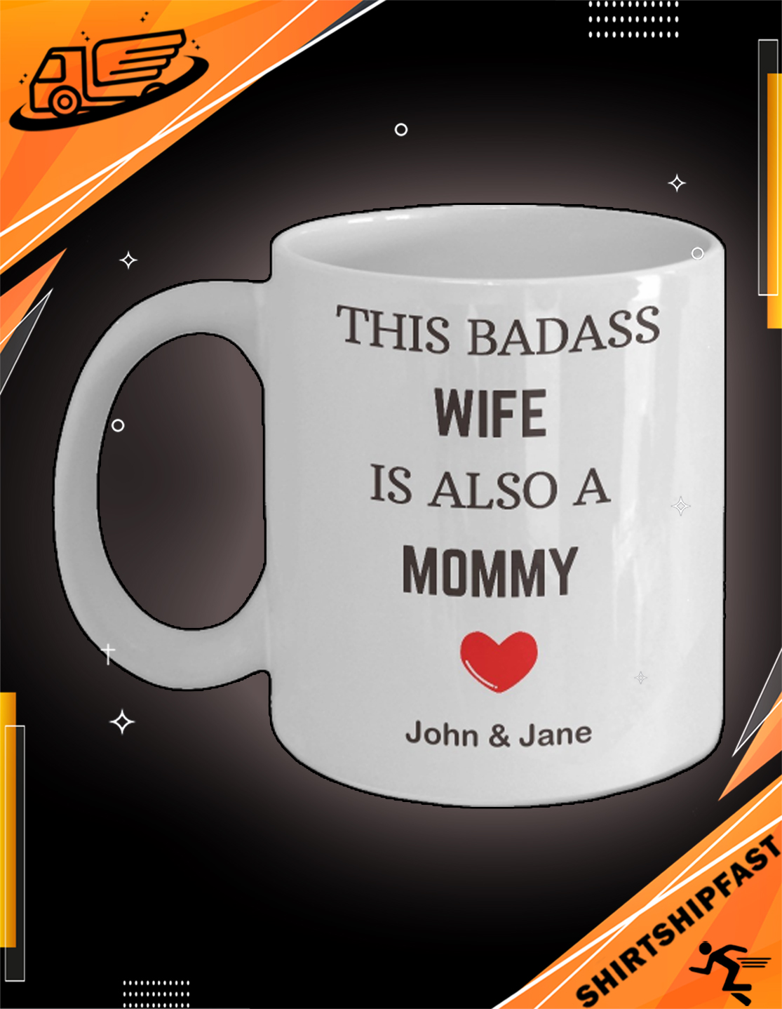 This badass wife is also a mom personalized custom name mug - Picture 3