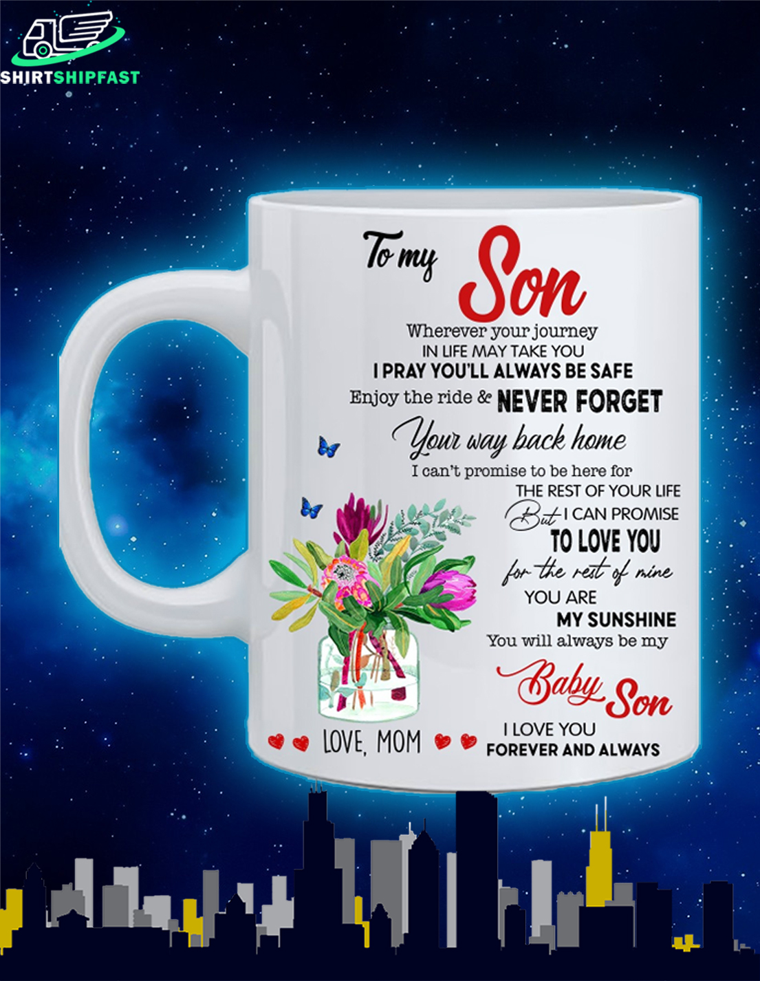 To my son wherever your journey in life may take you love mom mug - Picture 1