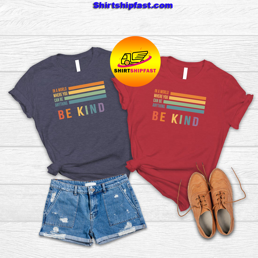 Vintage retro In a world where you can be anything be kind shirt - Picture 1