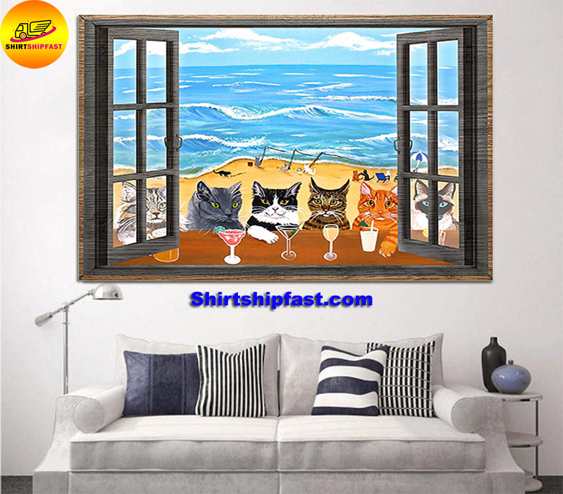 Window cats wine sea poster - Picture 1