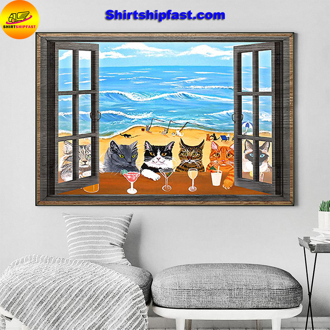 Window cats wine sea poster - Picture 2