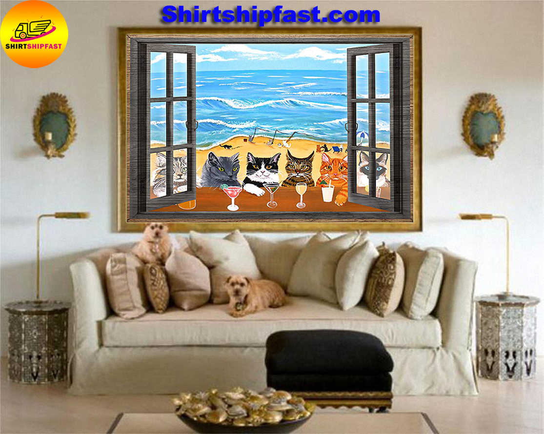 Window cats wine sea poster - Picture 3