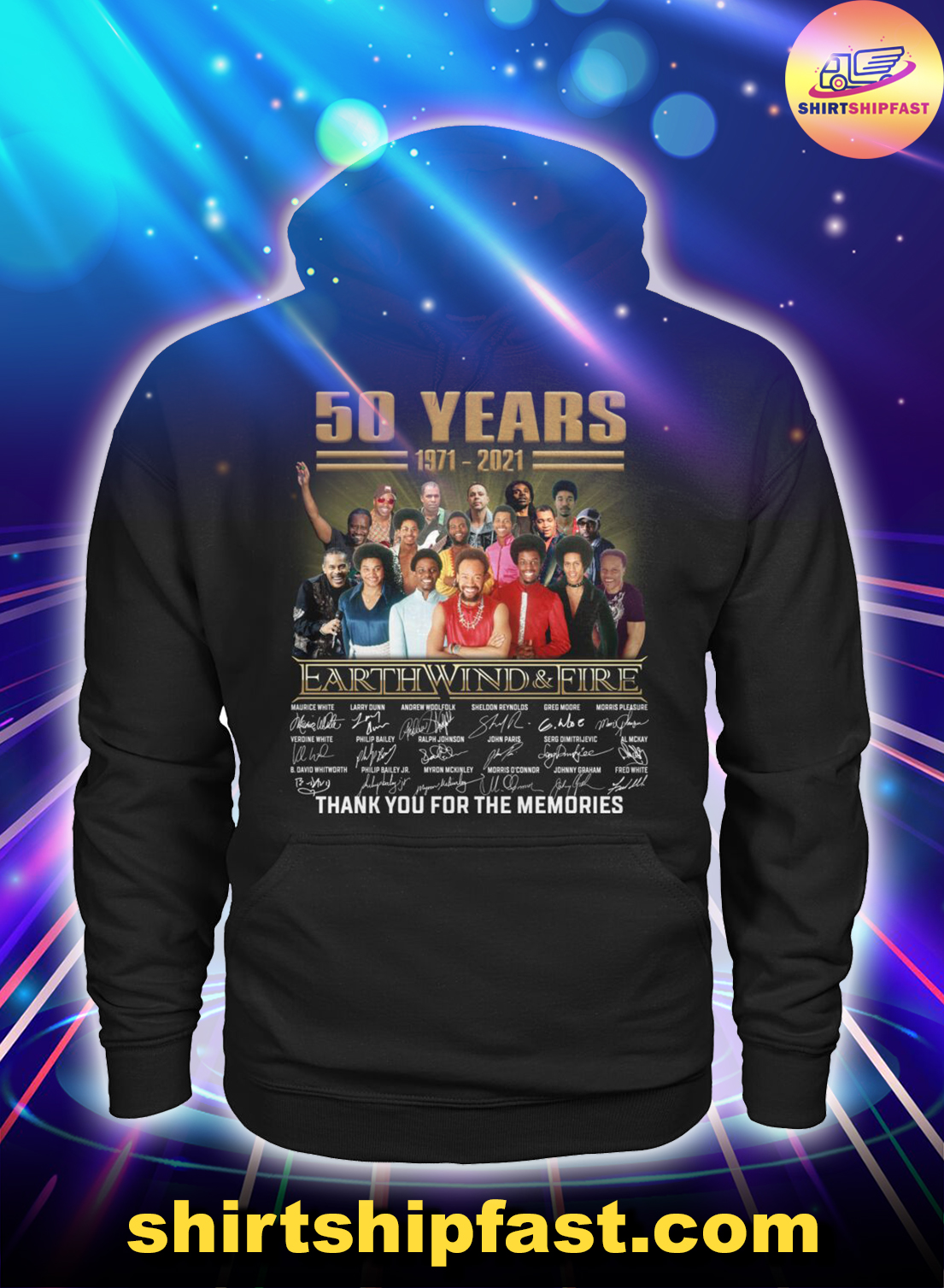 50 years Earth Wind And Fire thank you for the memories hoodie