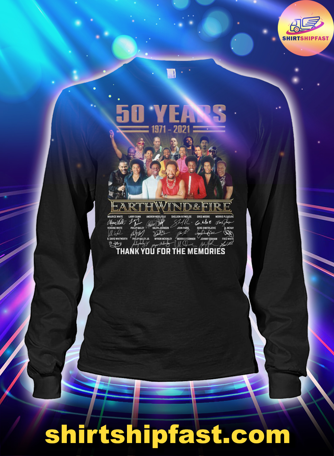 50 years Earth Wind And Fire thank you for the memories long sleeve tee