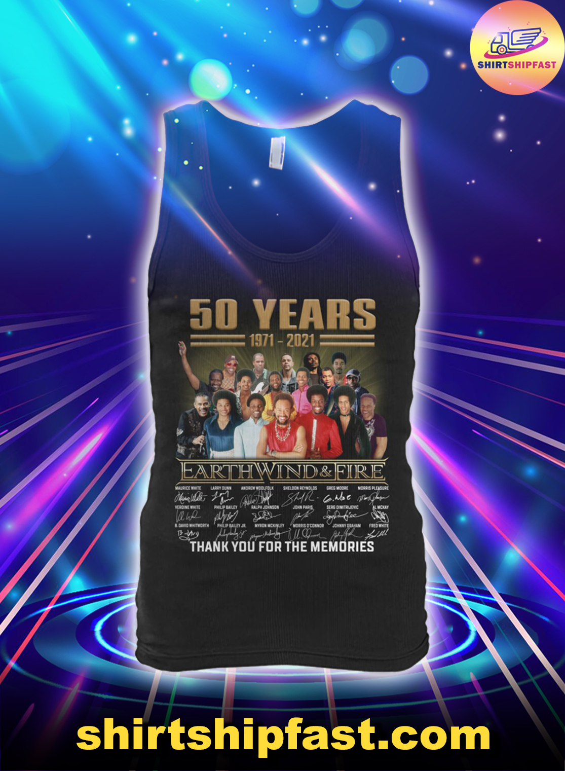 50 years Earth Wind And Fire thank you for the memories tank top