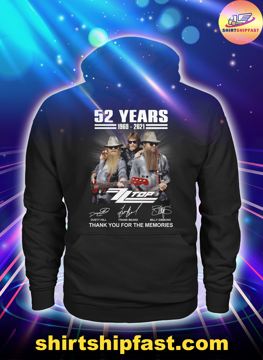 52 years ZZ Top signatures thank you for the memories hoodie
