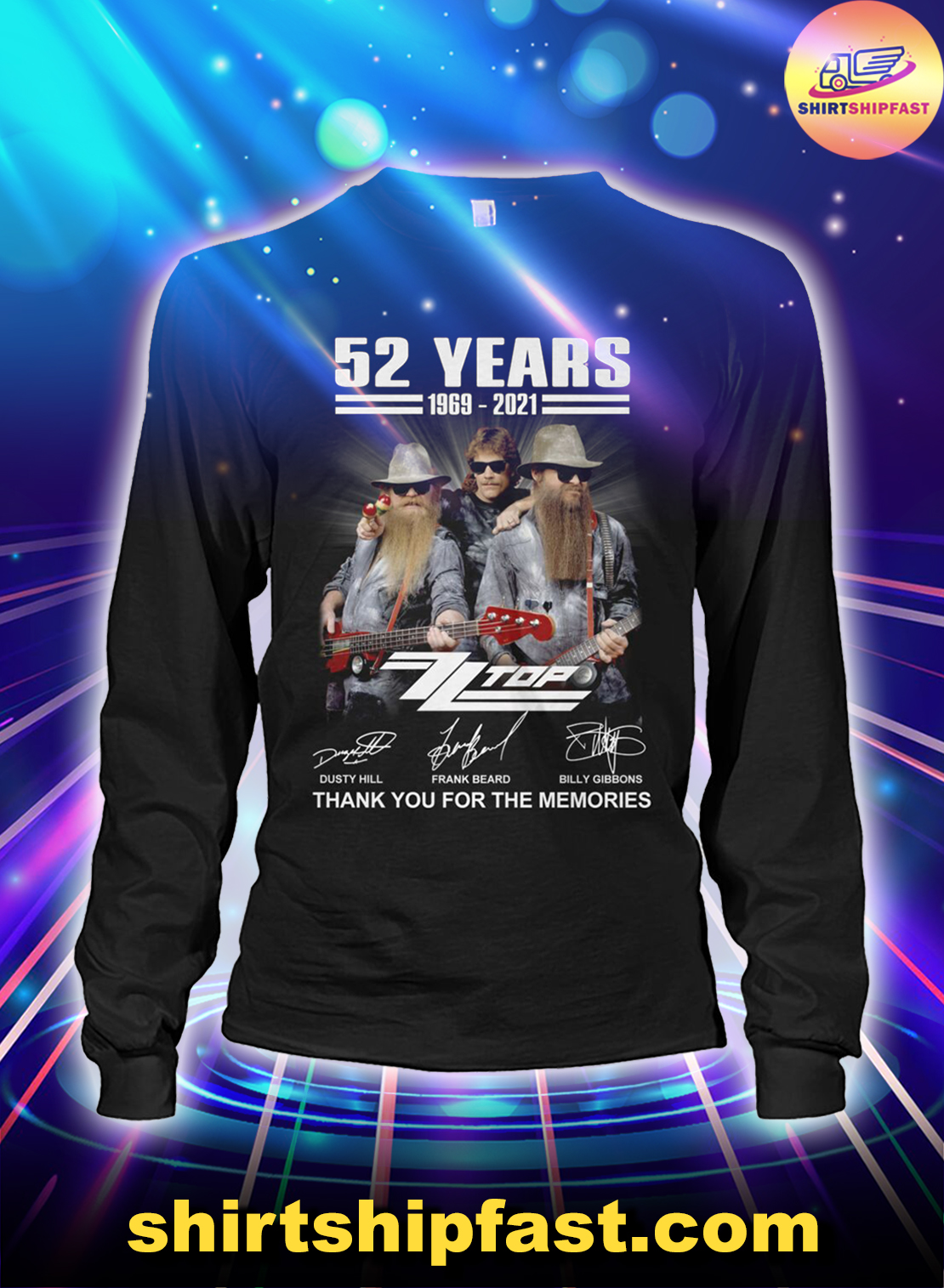 52 years ZZ Top signatures thank you for the memories long sleeve tee