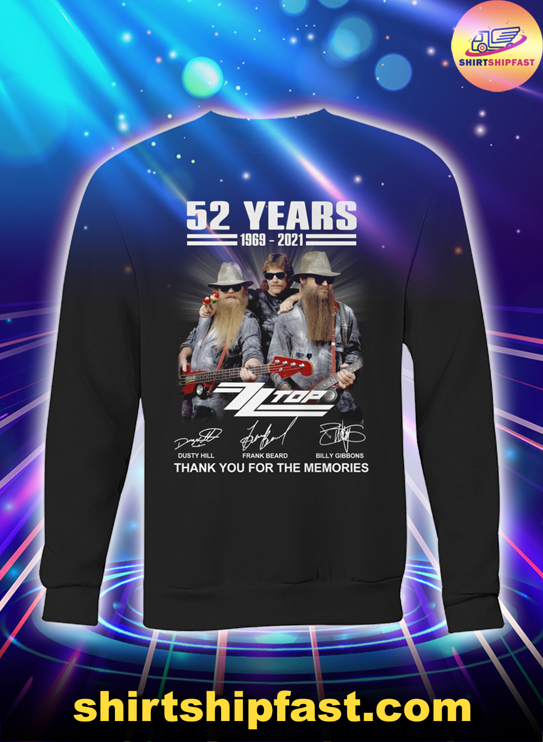 52 years ZZ Top signatures thank you for the memories sweatshirt