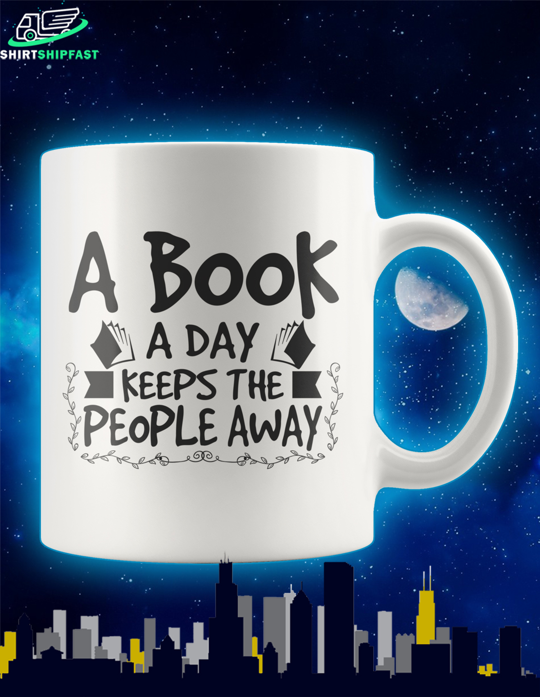 A book a day keeps the people away mug - Picture 1
