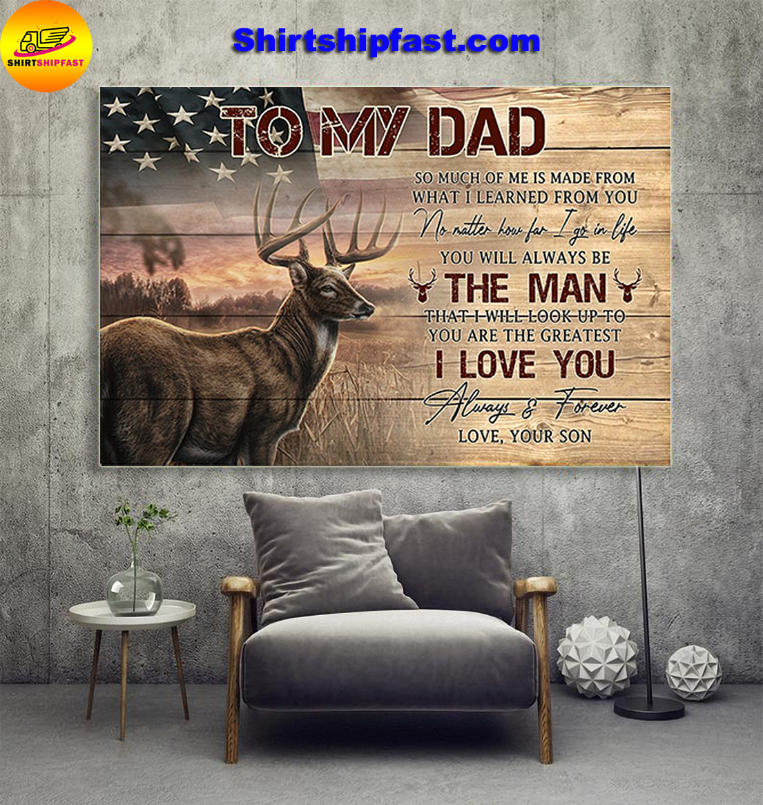 American flag Deer hunting To my dad love your son canvas prints - Picture 1
