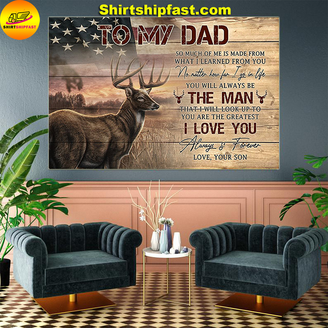 American flag Deer hunting To my dad love your son canvas prints - Picture 2