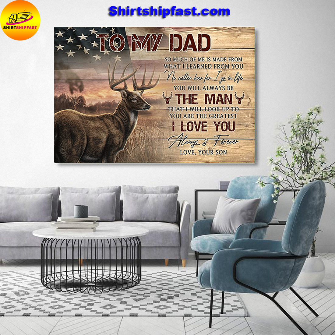 American flag Deer hunting To my dad love your son canvas prints