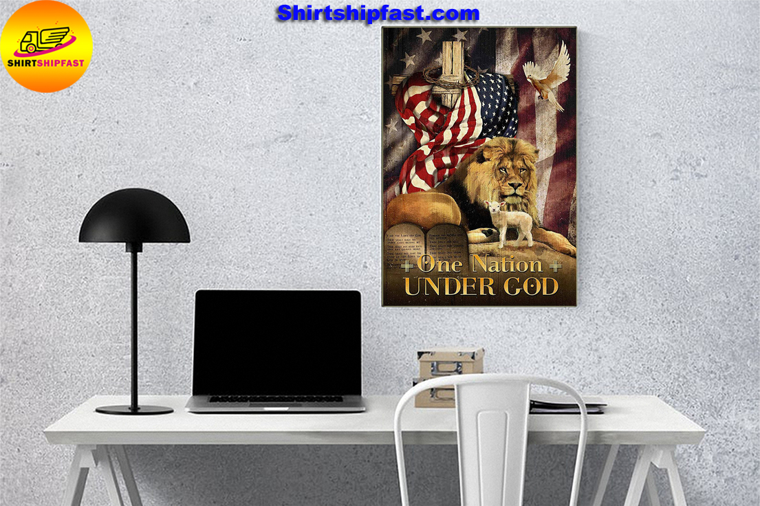 American flag lion dove lamb One nation under god poster - Picture 1