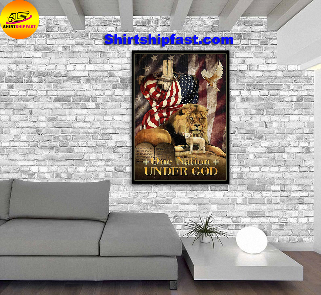 American flag lion dove lamb One nation under god poster - Picture 2