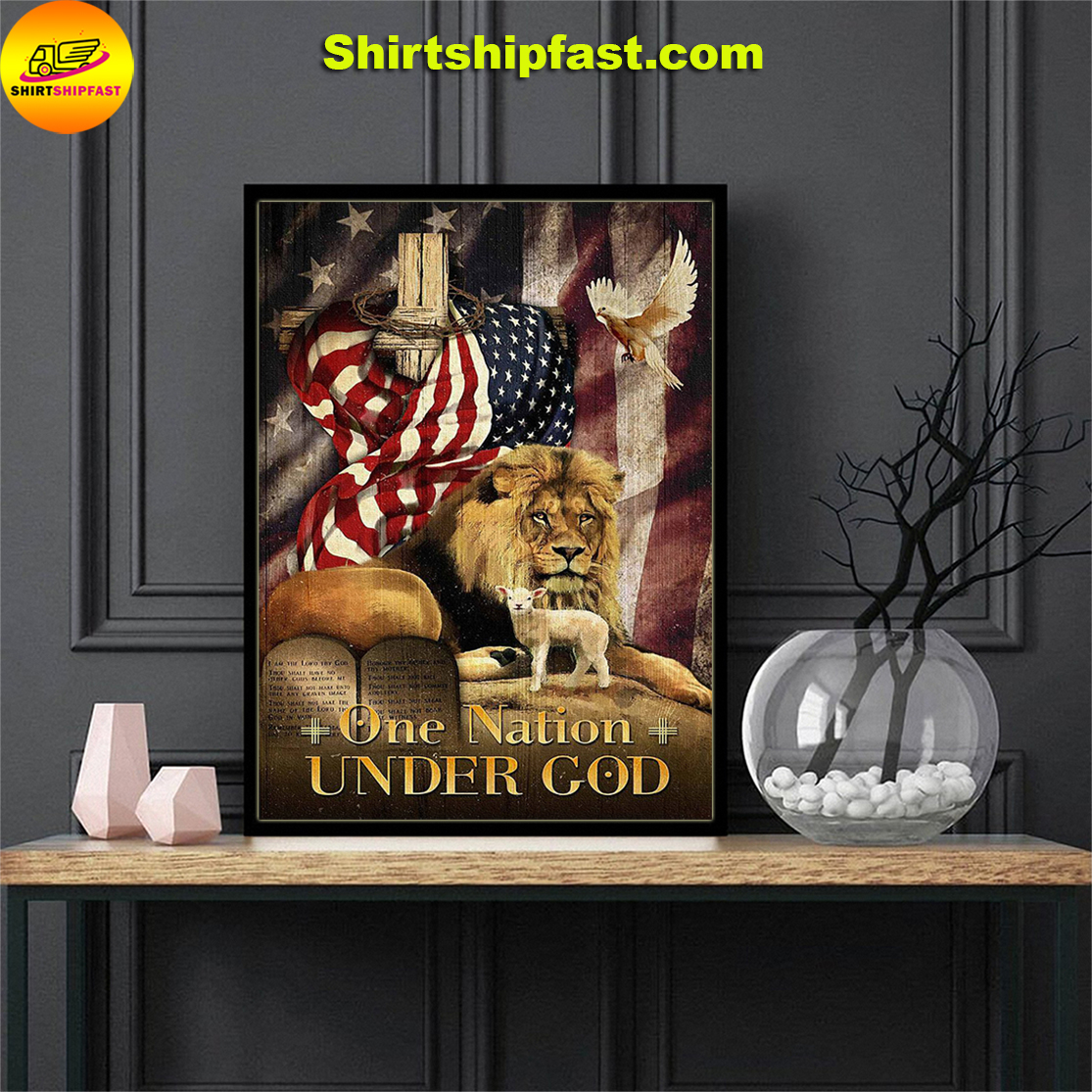 American flag lion dove lamb One nation under god poster - Picture 3