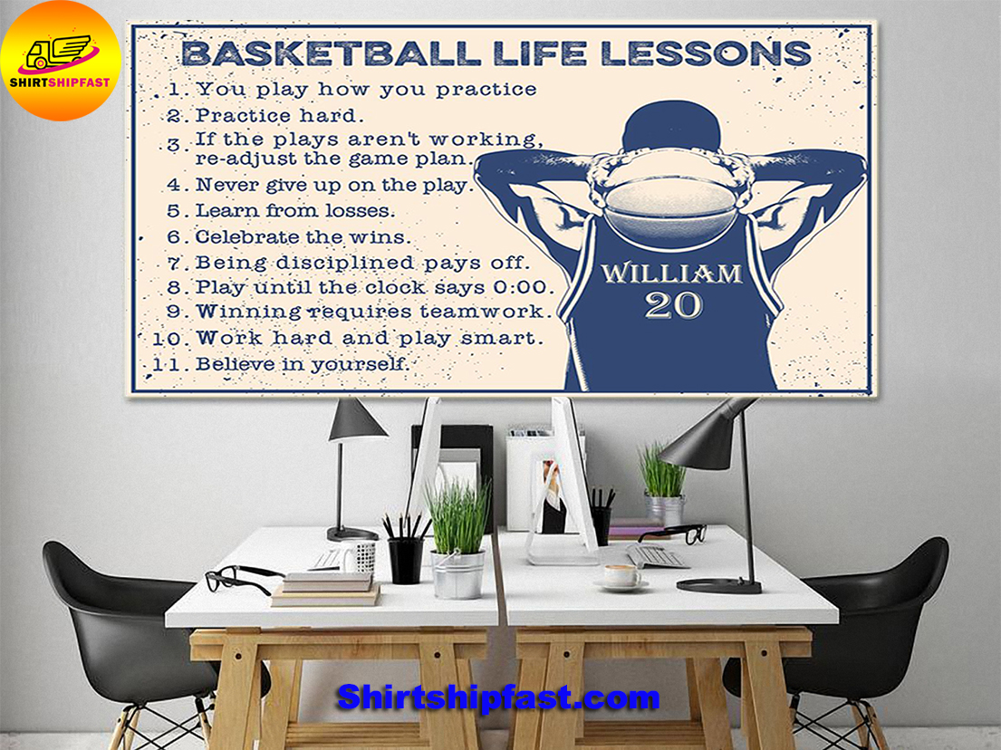 Basketball life lessons personalized customm name poster - Picture 1