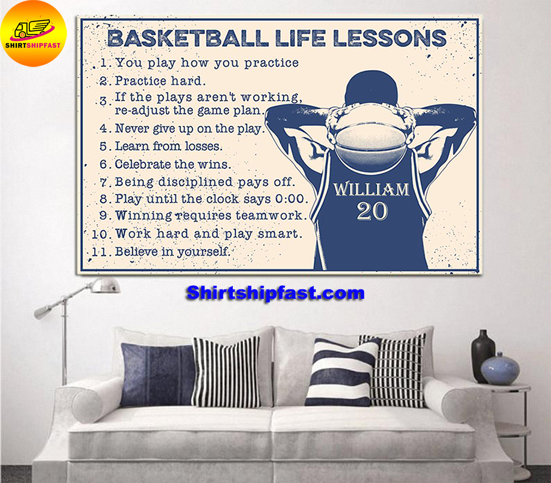 Basketball life lessons personalized customm name poster - Picture 2