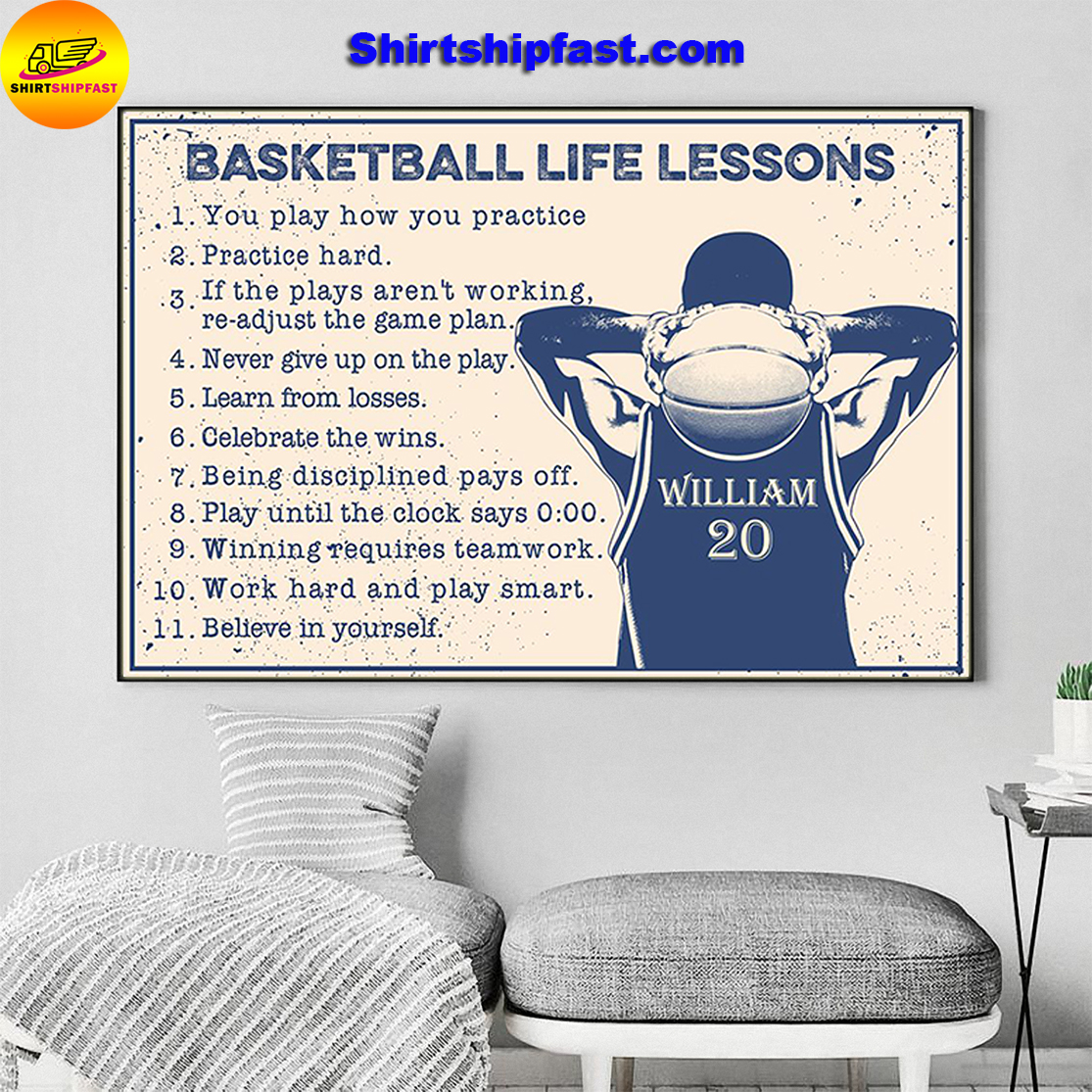 Basketball life lessons personalized customm name poster - Picture 3