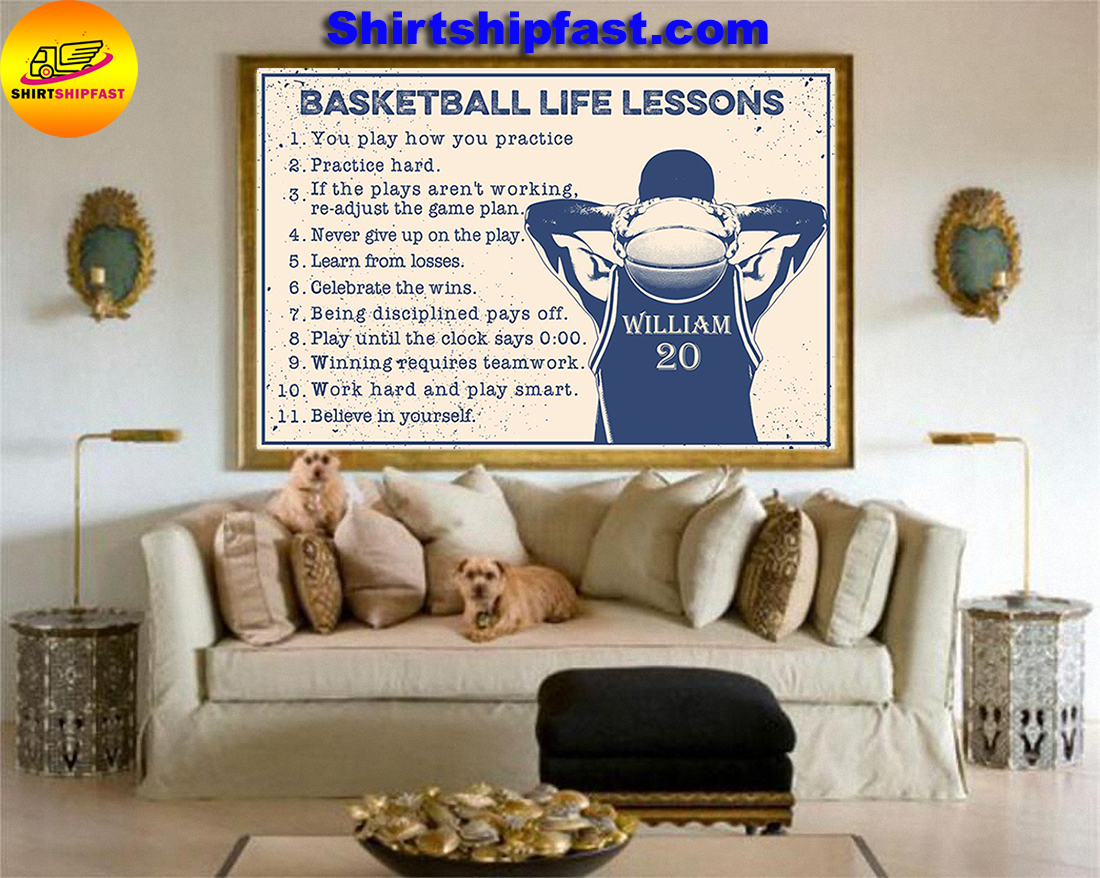 Basketball life lessons personalized customm name poster