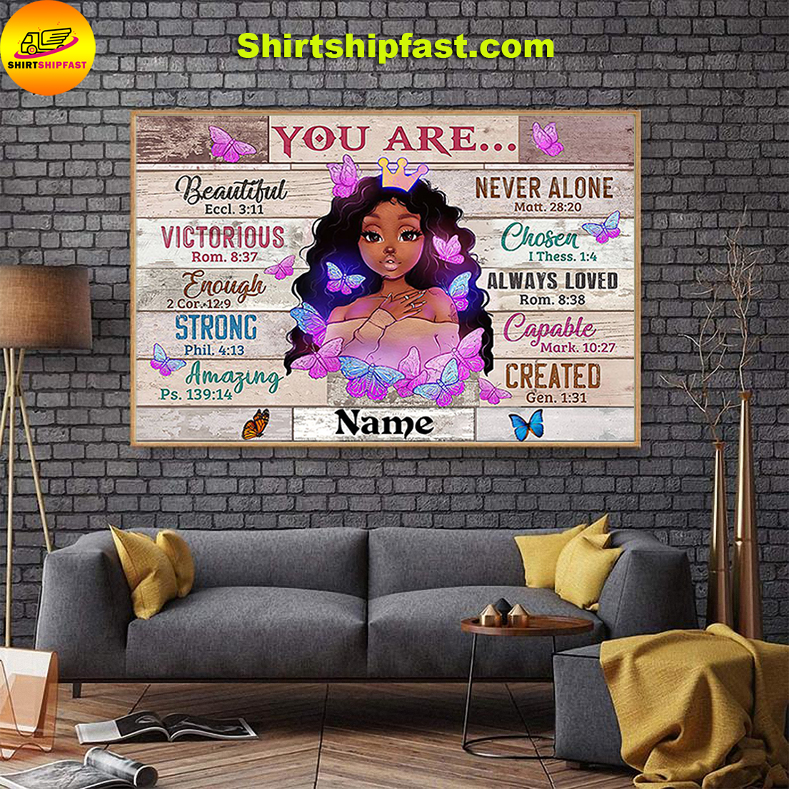 Black girl You are beautiful black teenage personalized custom name poster - Picture 1