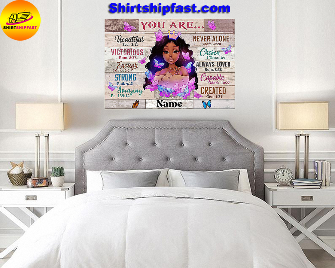 Black girl You are beautiful black teenage personalized custom name poster - Picture 3