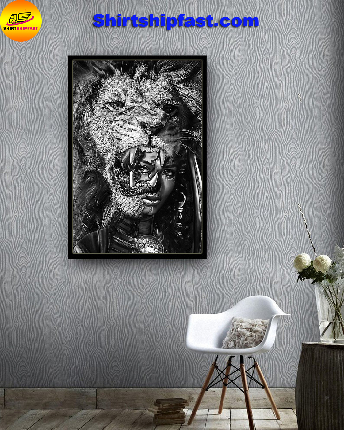 Black girl with lion bcv poster - Picture 2