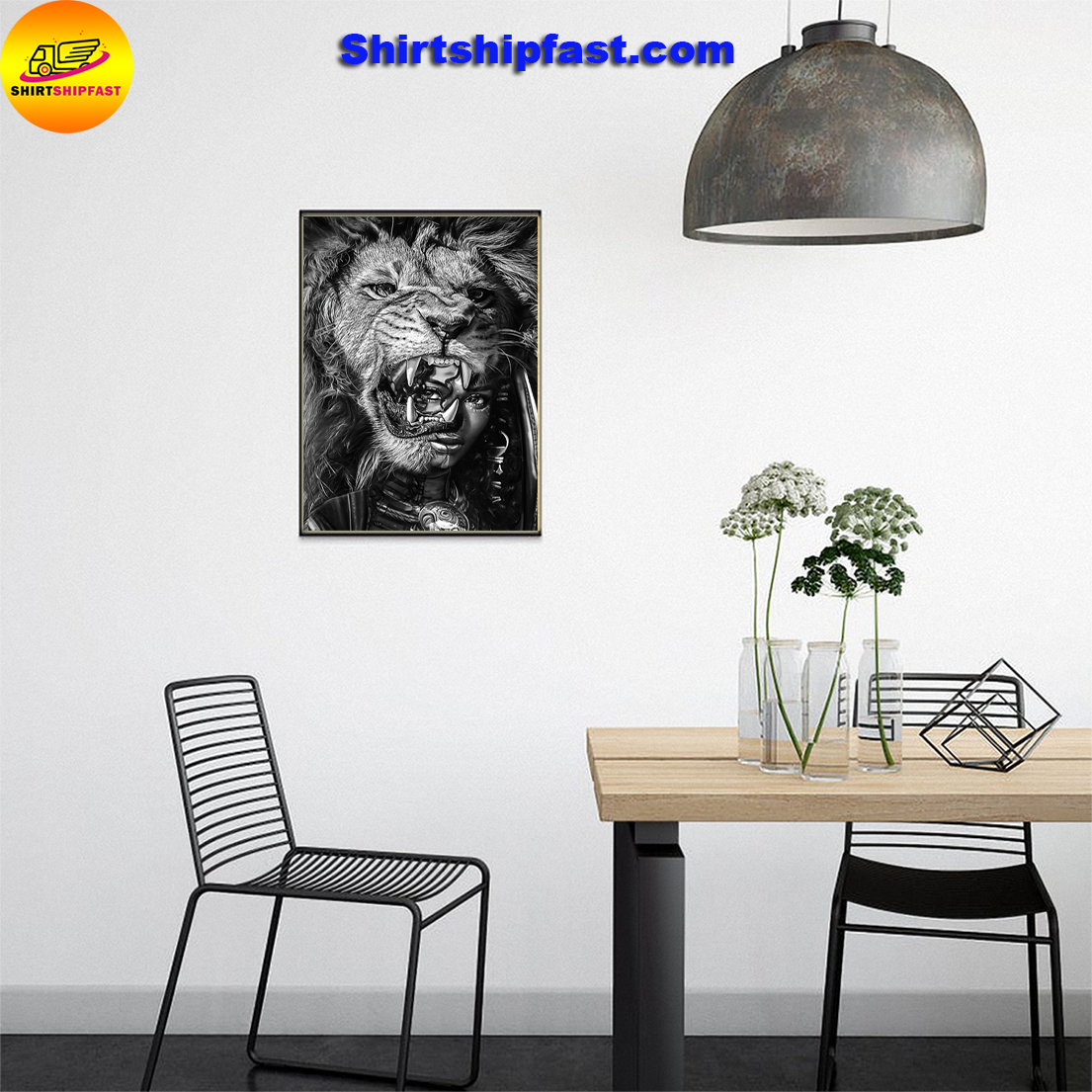 Black girl with lion poster - Picture 1