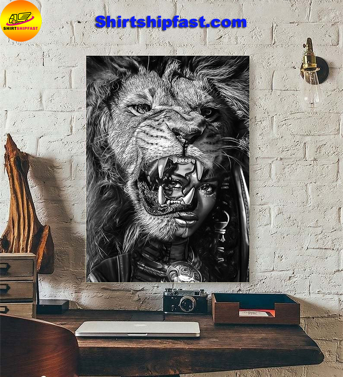 Black girl with lion poster - Picture 3
