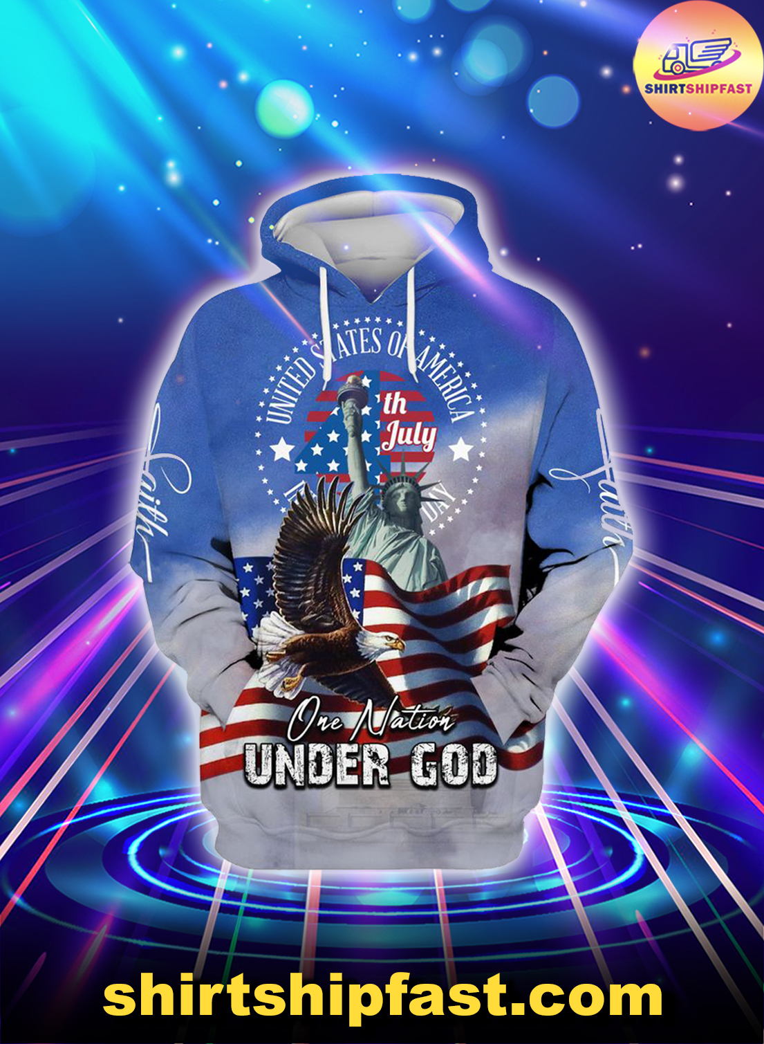 Eagle American flag One nation under god 4th july hoodie